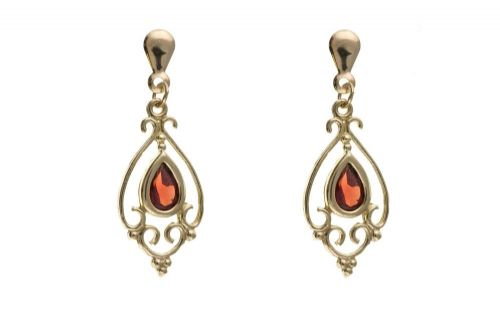 Yellow Gold Garnet Victorian Style Pear Shaped Drop Earring
